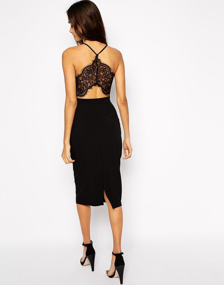 Image 1 of Oh My Love Midi Body-Conscious Dress with Lace Plunge Neck And Open Lace Back
