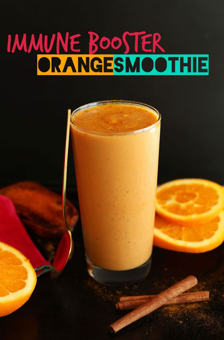 SIMPLE, nutrient packed Immune Booster ORANGE Smoothie with sweet potato, orange juice, flax seed and so much more! #vegan #glutenfree #paleo