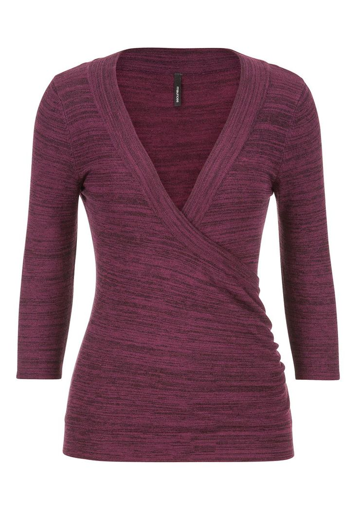 the pullover with wrap front in dark wine combo - maurices.com