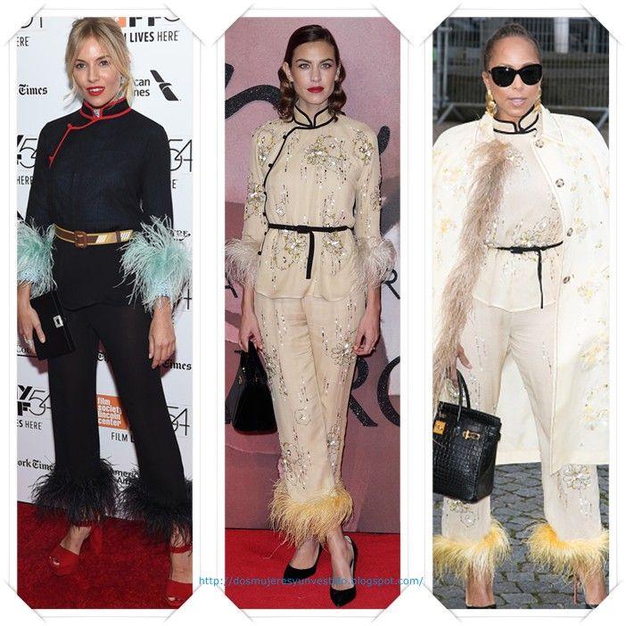 Un conjunto de inspiración oriental de Prada primavera 2017 se lo vimos primero, en negro, a Sienna Miller en el New York Film Festival; después a Alexa Chung en los British Fashion Awards; y por ultimo a Marjorie Harvey en los desfiles de Paris.