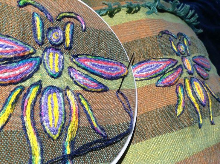 Winged Ant pocket details, Plague of Locusts Apron.  Renata Bursten 05/17.