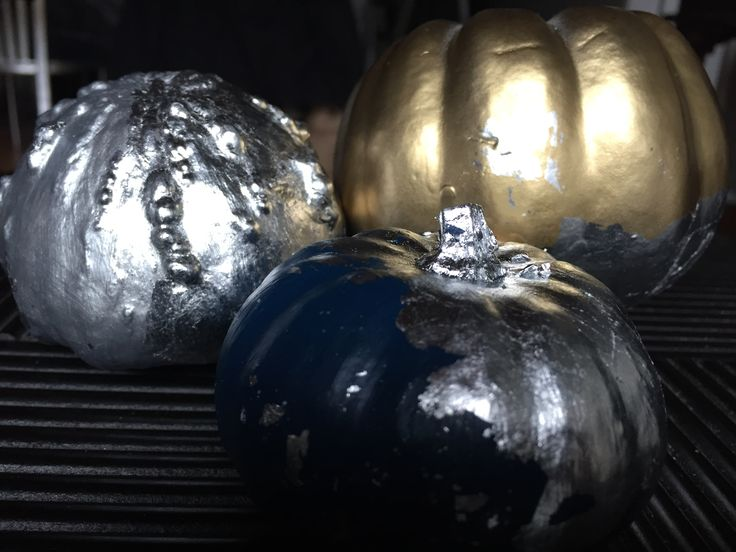 Painted and Silver Leafed Gourds for the Thanksgiving Centerpiece.