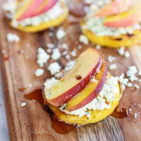 ... polenta patties topped with with peaches, gorgonzola & chipotle honey