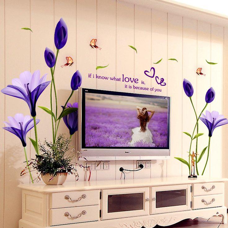 Schöne Blumen Lila Lilien Wandaufkleber Steuern Dekor Für Hintergrund Dekorative Wand Kostenloser Versand