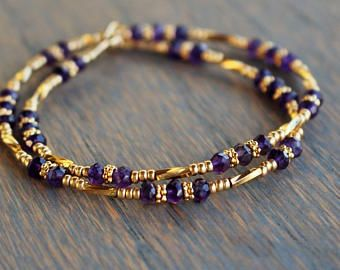 Amethyst beaded bracelet, February Birthstone Bracelet, gemstone wrap bracelet Boho chic modern gemstone bracelet Amethyst and Gold Bracelet