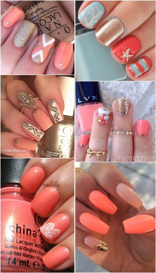 20 Coral Nail Art Designs To Draw Inspiration From   http://www.meetthebestyou.com/20-coral-nail-art-designs-to-draw-inspiration-from/