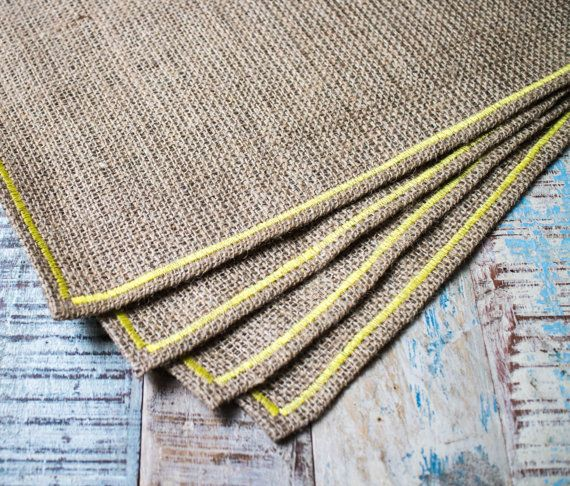 Hessian placemats with yellow border  set of 4 by KikiBazaar
