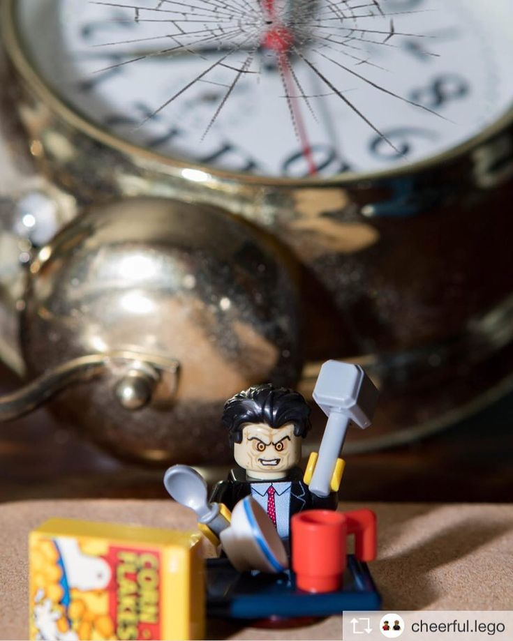 Ed is not a #morning #person he #hates #mornings!  by @nkphotographyuk (nk-photography.co.uk) . . #clock #smashed #hammer #breakfast #cornflakes #politics #edmiliband #labourparty #lego #mp #politician #photography #minifigures #minifig #canon #legolife #instalego #legominifigures #legolover #legophotography #legophoto #legogram #toyphotography #toys
