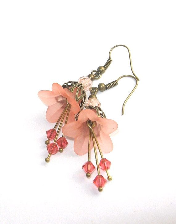 Peach Flower Earrings, Shabby Chic Jewelry, Peach Pastel, Nature Inspired Jeweley, Floral Accessories via Etsy