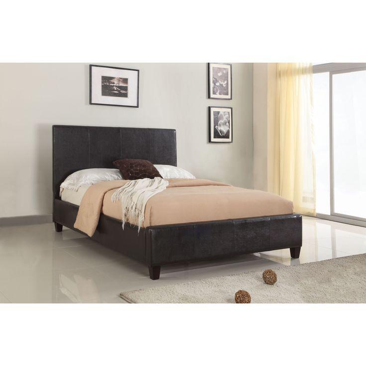 Domusindo Modern Upholstered Platform Bed in Chocolate