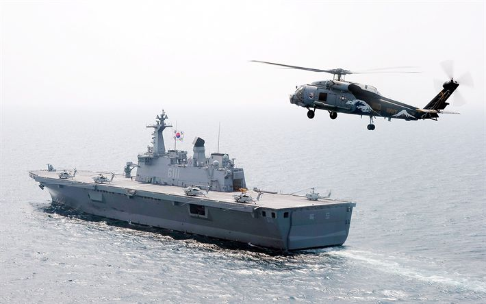 Download wallpapers ROKS Dokdo, LPH-6111, amphibious assault ship, Republic of Korea Navy, ROKN, Dokdo-class, South Korean navy, Flag of South Korea