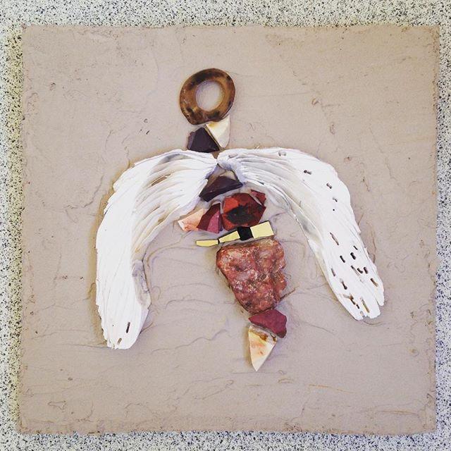 earthly Angel 1 #naturalmaterials #mosaicart #mookite #stones #angel #gold