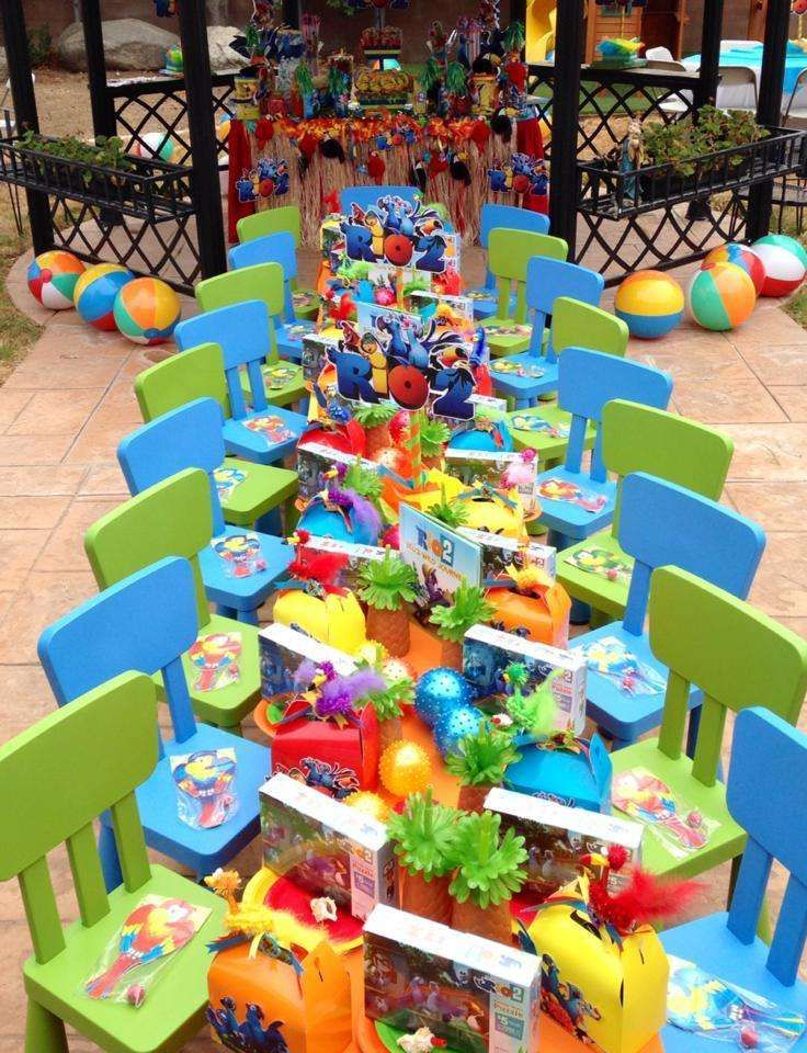 Colorful table at a Rio Birthday Party!  See more party ideas at CatchMyParty.com!