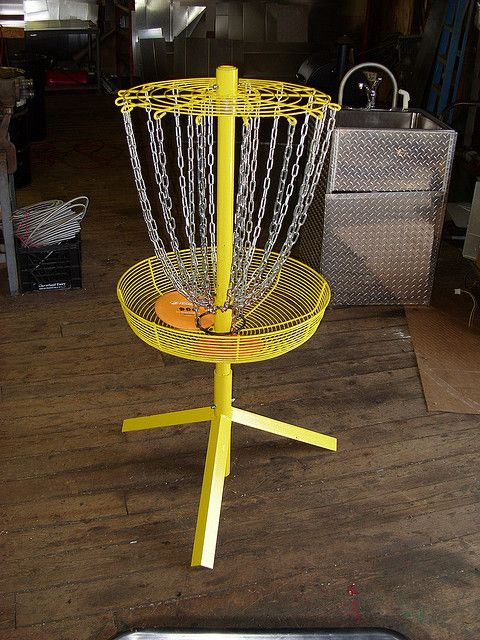 Disc golf basket from ac unit