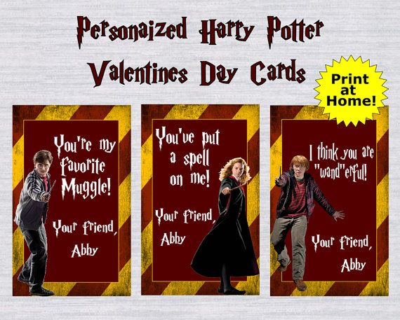 Personalized Harry Potter Valentines Day Cards!   3 Designs are all included! Harry Potter, Hermoinne Granger and Ron Weasley    **CHOOSE FROM THE FOLLOWING** -3 JPEG Files (to print at a photo lab such as walmart or walgreens)  -1 PDF (8.5 x 11) with all 3 designs on the same sheet. (To print at home onto cardstock)     **PERSONALIZATION** Be sure to add your childs name to go on the Valentines in the Note to seller section upon checkout    **DELIVERY** You files will be emailed to you to…