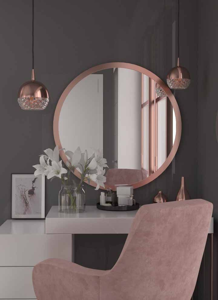 A dresser full of style and glamor with rose gold details. note