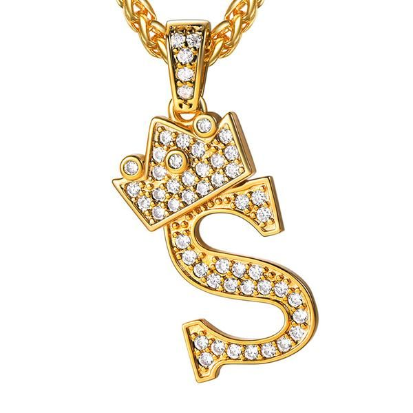 Prince Crown Shapes Pendant Necklaces Gold Color Jewelry For Lady Ornament