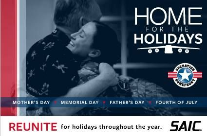 75 active duty service members are invited to apply to fly HOME FOR THE HOLIDAYS (Mother's Day, Memorial Day, Father's Day, July 4th)! Additional air travel assistance opportunities for #military #families:  http://www.operationwearehere.com/AirTravelAssistance.html