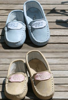 monogrammed baby loafers - come on, could anything be more perfect! I will be that mom
