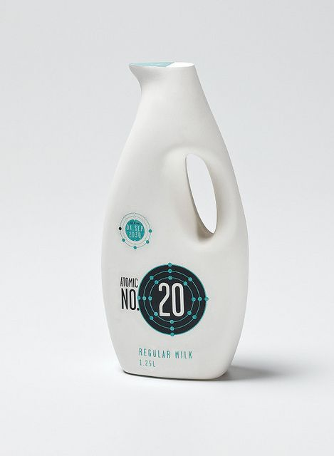 """Ruby Aitken (Melbourne, Australia), """"Atomic No 20"""", Milk packaging for the 'Next Generation.' Awarded a commendation at the Southern Cross Packaging Awards, 2011."""
