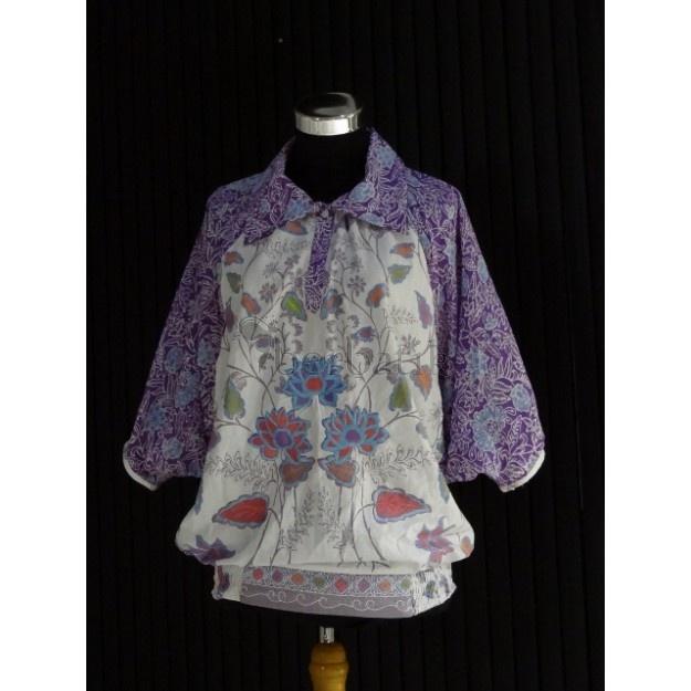 Purple batik blouse with bordir - Nuo Batik