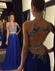Rhinestones Royal Blue Prom Dresses 2016 Crystals Beaded Appliques Top Sexy Open Back Sheer Neck Floor Length Chiffon Evening Party Gowns Gowns For Sale Kids Prom Dresses From Dmronline, $127.04| Dhgate.Com