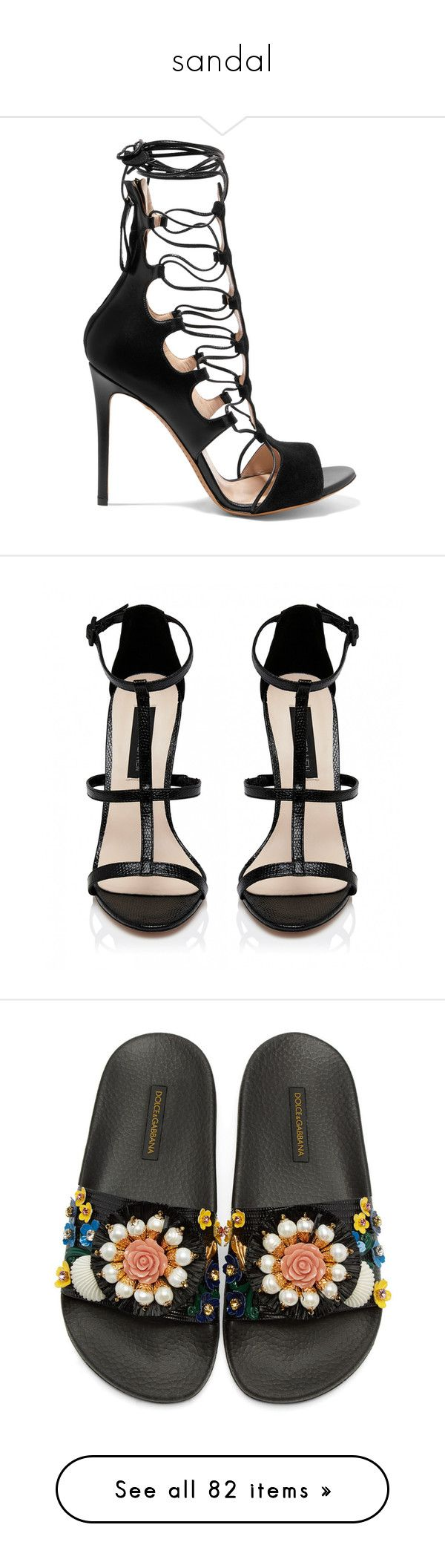 """""""sandal"""" by jordan-mobley ❤ liked on Polyvore featuring shoes, sandals, black, black rainbow sandals, suede lace up sandals, rainbow leather sandals, high heel sandals, lace up high heel sandals, heels and sapatos"""