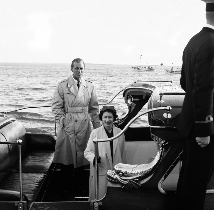 February 1957 Queen Elizabeth II poses with her husband Prince Philip, the Duke of Edinburgh, after their reunion at Lisbon on the royal visit to Portugal