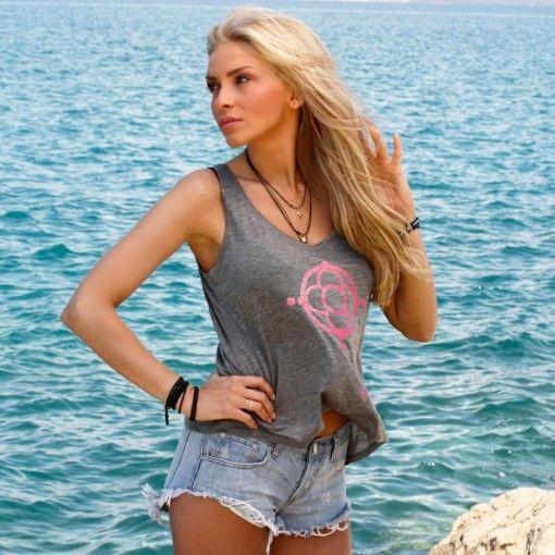 Grey pink tencel t-shirt $64.90€