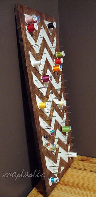my thread supply is a disaster. I really should make something like this that can hang over the door of the sewing closet.: