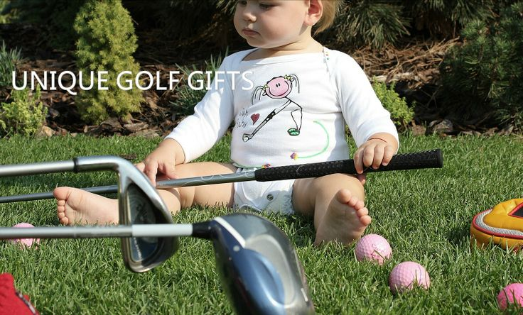 Baby golf bodysuit, hand decorated. Buy it on www.birdiecountry.com. Baby golf gifts, gifts for baby golfers.