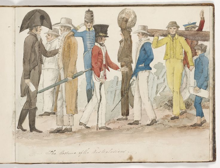 This drawing by Edward Charles Close is a primary source for the history of clothing in Australia.  It includes images of convicts, free settlers and military gaolers.