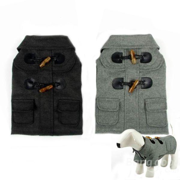 European Style Horn Button Turn-Down Collar Pet Dog Coat