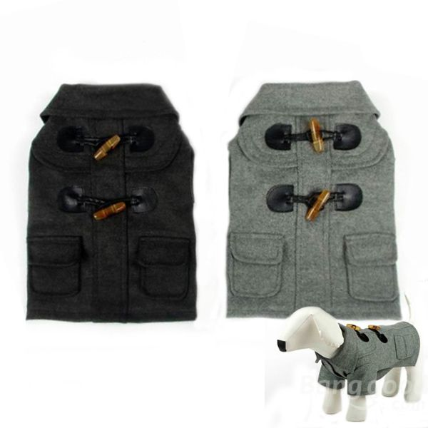 European Style Horn Button Turn-Down Collar Pet Dog Coat