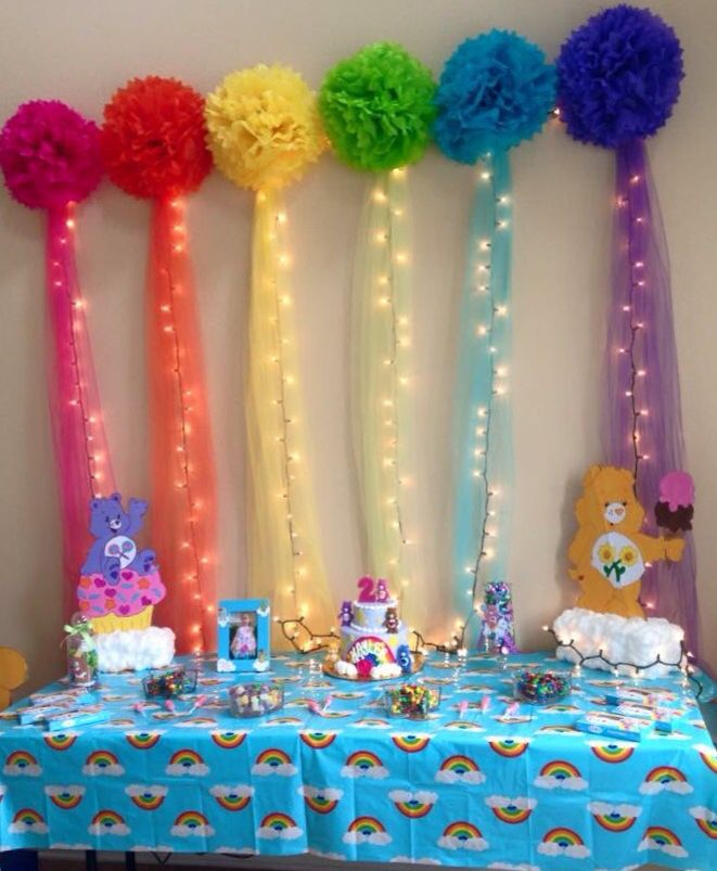 Cake table for Care Bears & rainbows birthday party (it really was straight) Care Bears party ideas