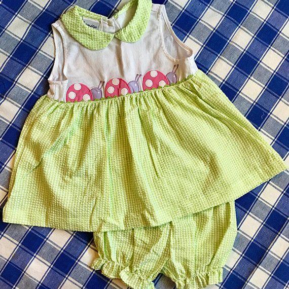1d911bb106 Sleeveless Samara Seersucker Dress   Bloomers Toddler 2T Green   White  Gingham  Seersucker Pink