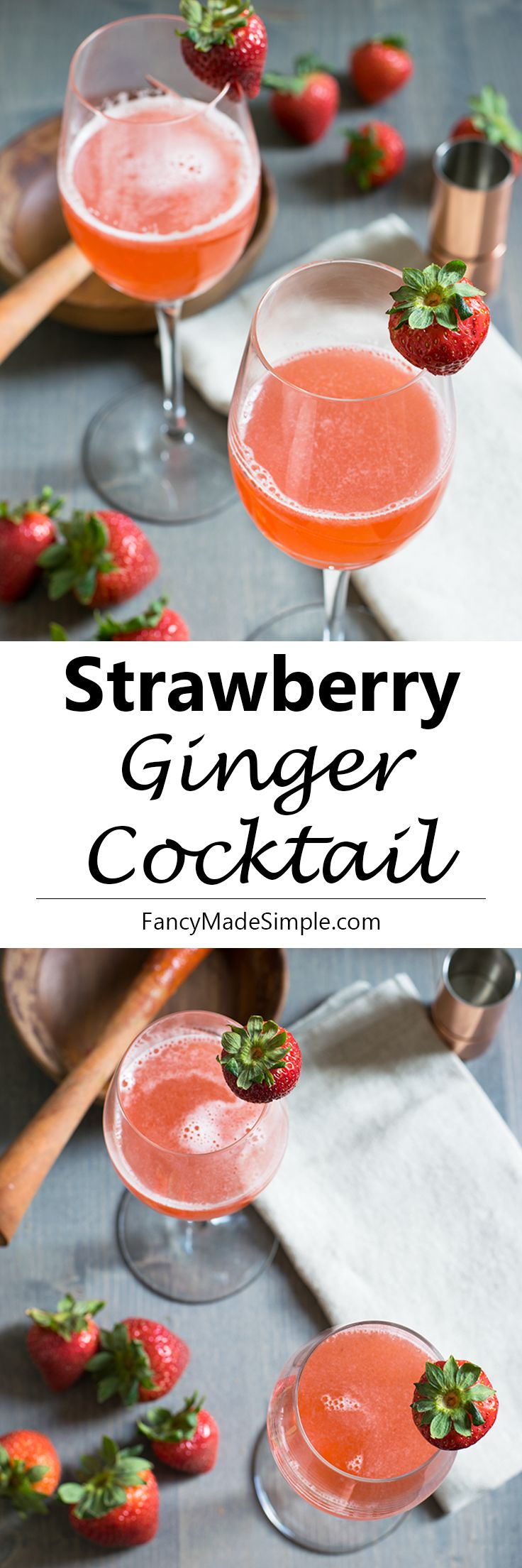 Sweet and refreshing strawberry ginger vodka cocktail. The perfect drink to kick off your summer.