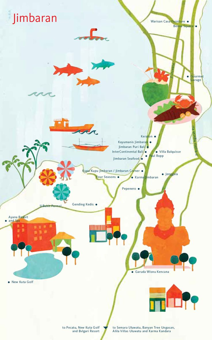 Astrid Prasetianti - Map of Jimbaran, Bali for hellobali magazine
