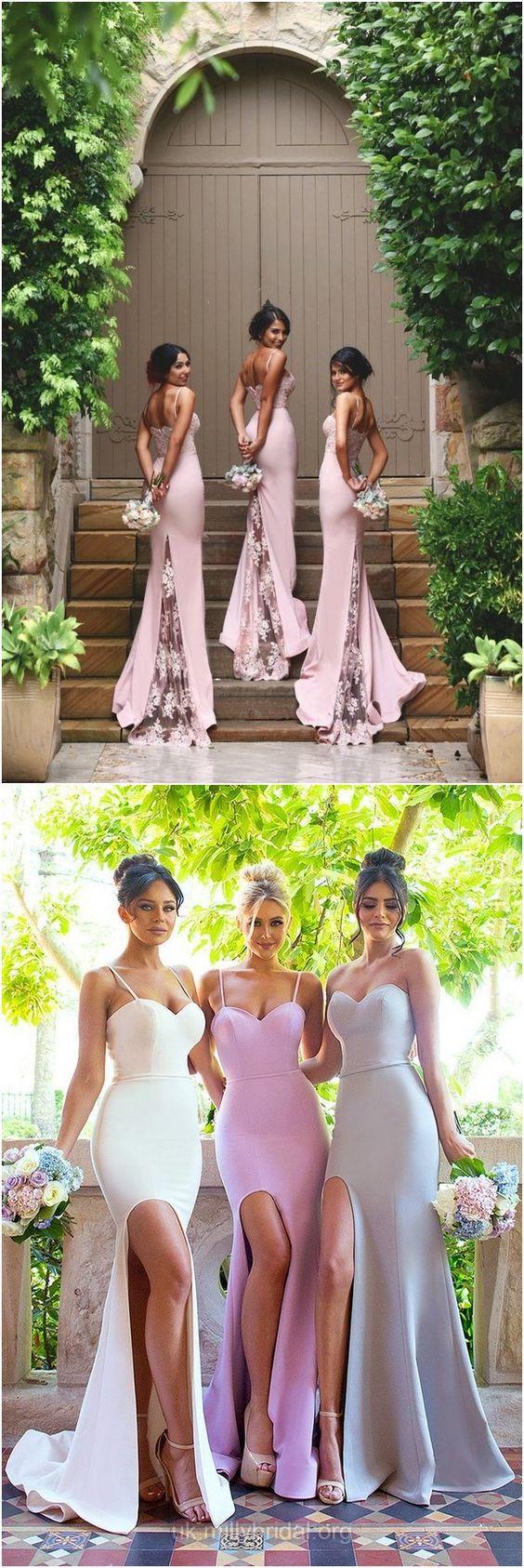Mermaid Bridesmaid Dresses Sweetheart,Long Bridesmaid Dress Pink, Silk-like Satin Sweep Train Ruffles Bridesmaid Dresses Modest
