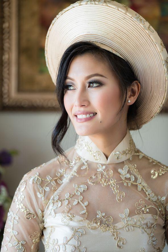 Mindy & Hoang | Matron of Style x Sandy Le Makeup and Hair | Modern Vietnamese bride wearing gold ao dai