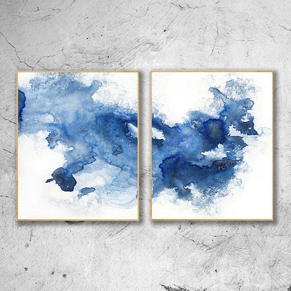 Minimalist Abstract Painting Blue Watercolor Print Set Of 2 Prints Abstract Wall Art Watercolor Set Abstract Watercolor Abstract Print