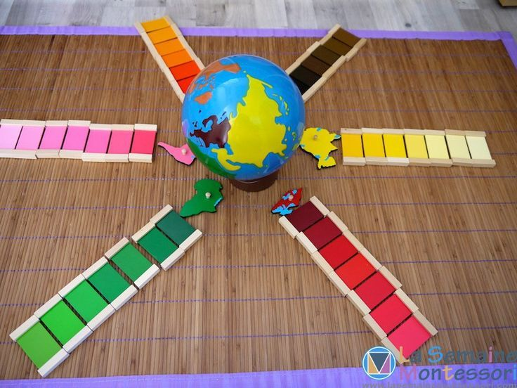 Exploring Montessori geography and colors, a beautiful mix of two classic Montessori childrens house works