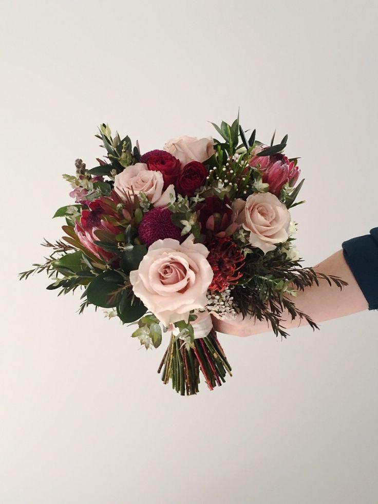 Burgundy and blush native wedding bouquet