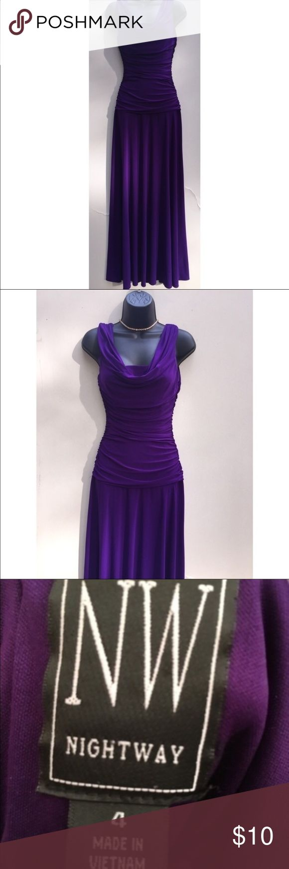 Flowy Floor Length Purple Body Hugging Dress •Size: Tag says size 4 (Small)/ will fit Medium •Condition: great/no flaws!  •Description: floor lengtht, flow-y at the bottom and body hugging at the top. VERY stretchy material. Dresses