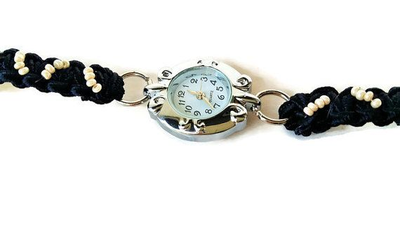 Thin Watch- Woman Watch- Black Band Watch- Ladies Watch - Little Watch - Handmade Band Watch - Cute Watch - 30th Birthday - Mothers Day Gift