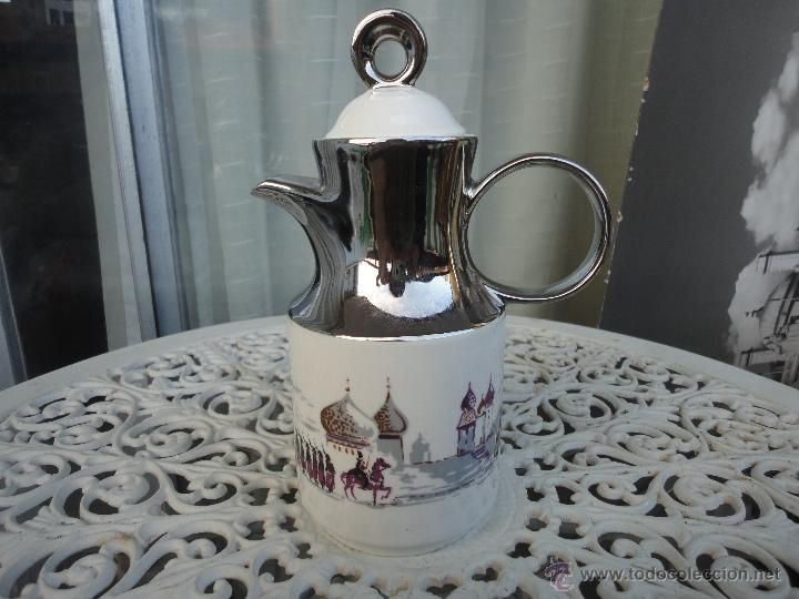 Cafetera de porcelana fina Sambo,  motivos de Rusia Imperial, troika y soldados, china y Plata                                                                                                                                                                                 Más