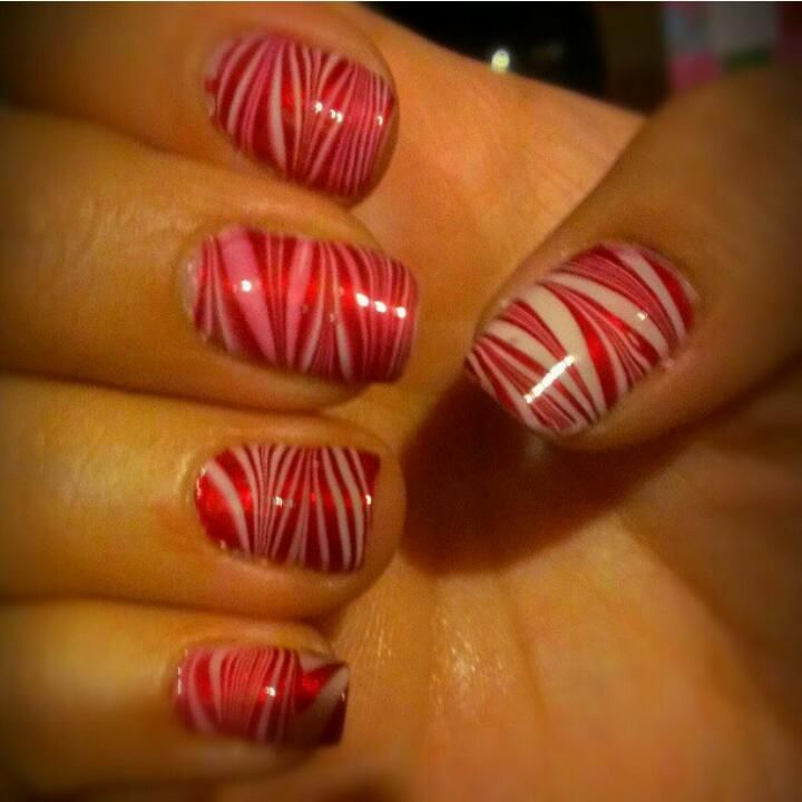 Candy Cane water marble nails