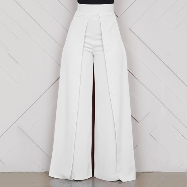 38 75 40 Off أنيقة عالية الخصر المرأة بنطلون 2019 الخريف الشتاء أبيض أسود مكتب فضفاض طو Loose Trousers Women Wide Leg Pants Pattern Styling Wide Leg Pants
