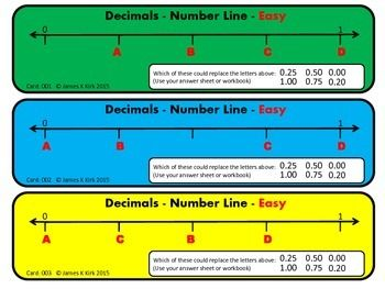 Decimals Card: Number Lines and Place Value Decimals on Number LinesDecimal Place Value(Also, soon to upload fractions on number lines)Decimal Cards: Number Lines and Place Value (NEW - In color / colour)66 Decimal Flash Cards: Number Line and Place Value Challenges   - 1 decimal challenge and number line per card  - 3 per A4 sheet   - Suitable to print and laminate in color - Different levels - Easy, Ok, Medium, Getting Hard, Hard, Very Hard. - (We also have a black and white version to ...