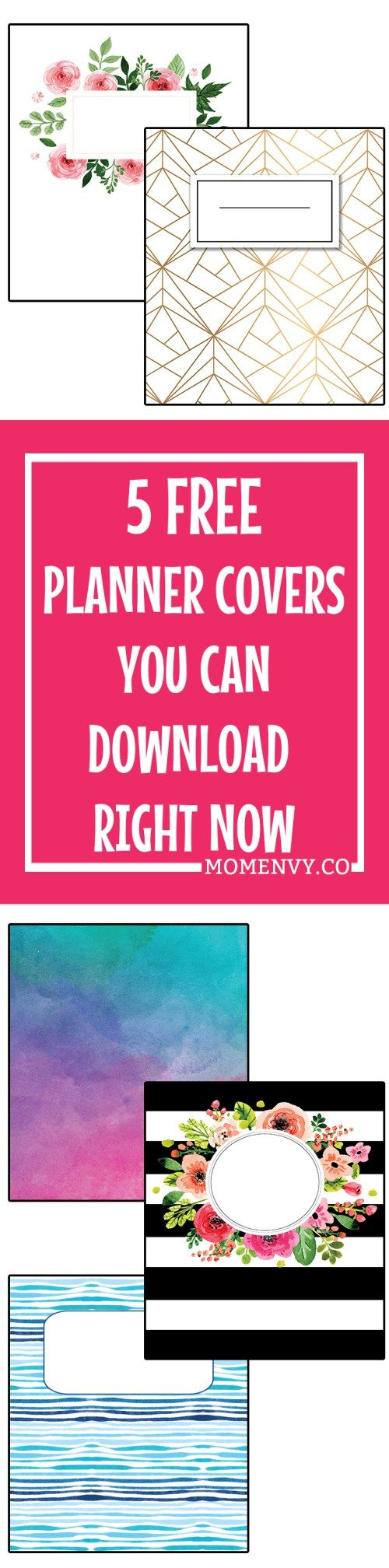 Free Family Binder and Planner Covers. Free customization! Download 5 free planner covers in: A5, Happy Planner Classic, and Letter Size. 5 different designs ready to download and print for free. Free Happy Planner accessories, free planner accessories, free family binder cover and printables.